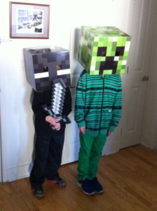 "Los bros Guigar, in a pre-trick-or-treat photo session at Grandma's house. Notice the 11yo's Method-Acting aherence to the ""no-arms-for-Creepers"" aspect of his character."